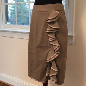 Nanette Lepore ruffle twill pencil skirt